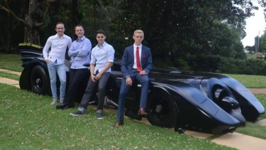 Cameron, Craig, Stuart and Shaun Blackburn on the day their hard work paid off - Shaun's formal.
