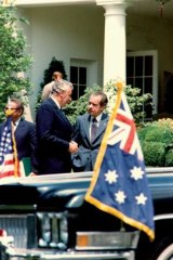 President Nixon farewells Prime Minister Whitlam following their meeting at the White House in 1973.