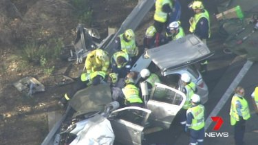 Emergency services respond to the crash on the Hume Highway.