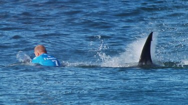 Close call: Mick Fanning is attacked by a shark during the finals of the J-Bay Open.