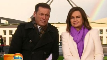 <i>Today</i> hosts Karl Stefanovic and Lisa Wilkinson broadcasting from Parliament House after the leadership spill.