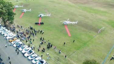 Luxury vehicles and helicopters at Salim Mehajer's wedding last year.