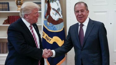US President Donald Trump meeting with Russian Foreign Minister Sergey Lavrov in the Oval Office.