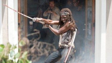 Michonne (Danai Gurira) puts her katana to use in <i>The Walking Dead</i> season 6 episode 3 'Thank You'.