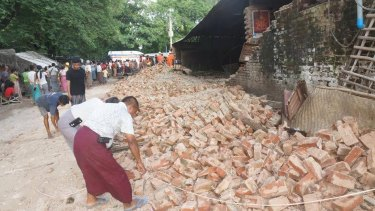 Damage from the earthquake in central Myanmar.