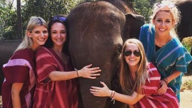 """Sophia Brockman (lower right) fell """"violently ill"""" with food poisoning after drinking a Vietnamese iced coffee."""
