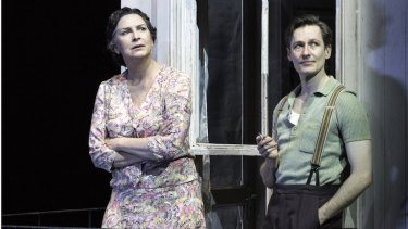 Pamela Rabe (Amanda Wingfield) and Luke Mullins (Tom Wingfield) in The Glass Menagerie.