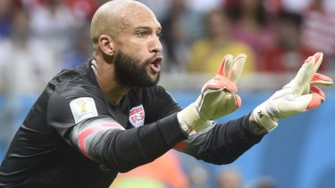 Tim Howard made 16 saves during the game with Belgium.