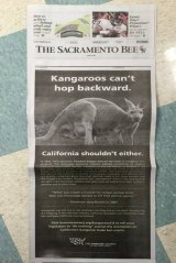 An advert by The Humane Society of the United States in Californian newspaper <em>The Sacramento Bee</em>.