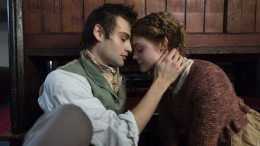Douglas Booth as Percy Shelley and Elle Fanning as Mary Shelley.