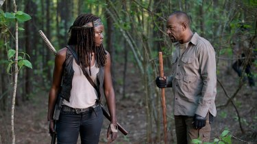 Er, how do you sharpen that thing?: Morgan Jones (Lennie James) carries a very big stick, but Michonne (Danai Gurira)  prefers a more traditional sort of weapon.