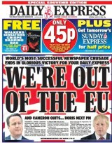 European Page 1 covers of newspapers reacting to the UK leaving the EU. Brexit, European Union, England, Britain, page one, news