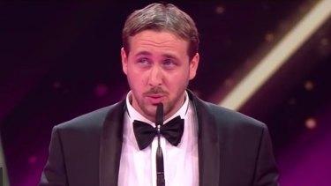 Fake Ryan Gosling, Munich cook Ludwig Lehner, accepts his award.