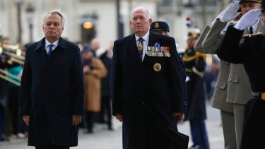 Sir Peter Cosgrove attends a ceremony at the Arc de Triomphe on Monday, with Jean-Marc Ayrault.