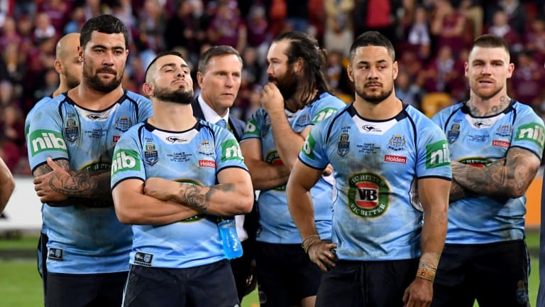 Another blue night: NSW players come to terms with another series defeat last year.