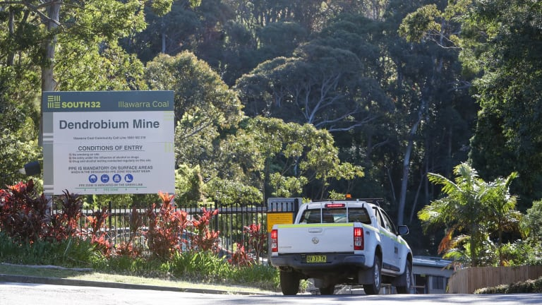 The front gates of the Dendrobium mine at Mount Kembla earlier this month.
