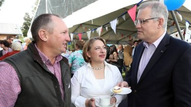 Former MP Sophie Mirabella and Social Services Minister Scott Morrison at a Liberal Party event in Indi in May.