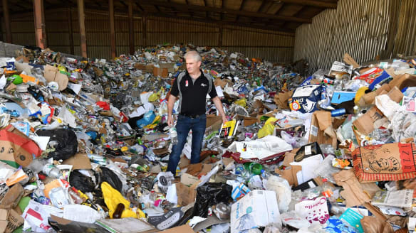 Chris Philp General Manager of Wheelie Waste amongst a days worth of Kyneton's recycle rubbish .Wheelie waste is no longer picking up recyclables from Macedon Ranges. 7th February 2018 Fairfax Media The Age news Picture by Joe Armao