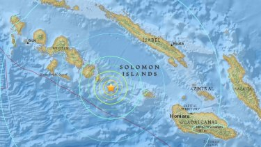 Image showing epicentre of Solomon Islands earthquake.