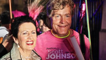 Steve Johnson with Clover Moore in the 2013 Mardi Gras Parade in Sydney.