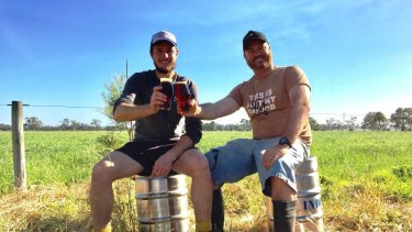 Hamish Coates from Rocky Ridge Brewing and Chris Blake from Vasse Valley celebrate their first brew of Dr Weedy's Hemp Ale.