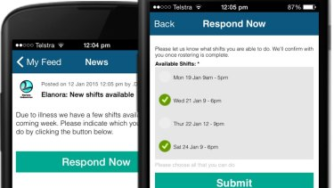 The app provides a simple way for employees to sign up for additional shifts.