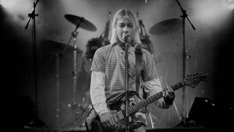 Daniel Johns, who says he had a tendency towards anxiety even as a child, on stage at Youth Rock '94 when he was a Newcastle High student.