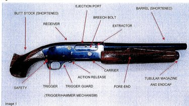 The workings of the modified shotgun used in the Lindt siege inquest.