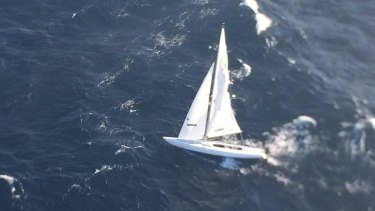 The Westpac Life Saver Rescue Helicopter crew took this photo of the abandoned yacht off the Sydney coast.