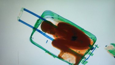 An X-ray image, provided by the Spanish Guardia Civil in Ceuta,  shows eight-year-old Adou Ouattara hidden in a suitcase.