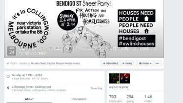 A Facebook post promoting a street party to be held this Sunday in Bendigo Street, Collingwood.