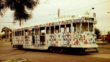 Howard Arkley's art tram in service.
