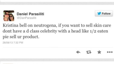The offensive tweet from Mr Parasiliti.