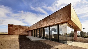 The Australian Grains Genebank building at Horsham has a metal core and a timber skin.