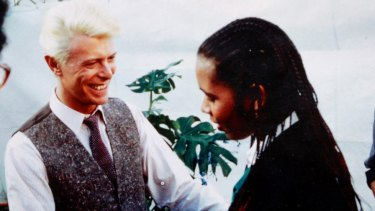 David Bowie and dancer Joelene King, who featured in his <em>Let's Dance</em> video.