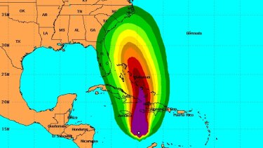 This graphic shows the probabilities of sustained surface wind speeds exceeding 39mph.