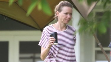 Happy camper Naomi Watts at Simon Baker's Byron Bay property.