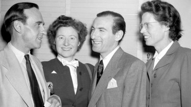 The Robert Masters Quartet at Broadcast House, Sydney, in 1950. Left to right, Robert Masters, Nannie Jamieson, Kinloch Anderson and Muriel Taylor.