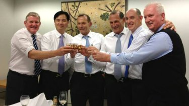Mr Li Ruipeng (second from left) of Li Guancheng Investment Group (LGIGA) with a number of coalition politicians (including Tony Abbott, McFarlane and Stuart Robert)