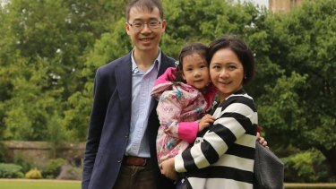 'I will not encourage our daughter to be a bookworm': Louis Wang and his family.
