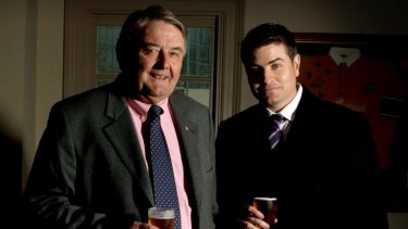 Stuart Laundy (right) with his father Arthur Laundy in The Harlequin Inn.
