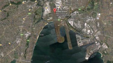 Aerial view of the area surrounding Sydney Airport, in Mascot.