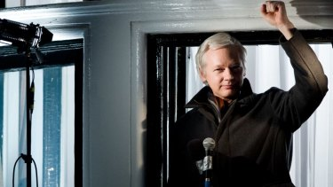 Julian Assange speaking from the Ecuadorian embassy in London in 2012. The WikiLeaks founder has been in the embassy for two years.