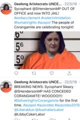 The two tweets Senator Sarah Henderson says are defamatory.
