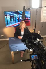 """Technical issues"" forced a barefoot Tracy Grimshaw to quit her living room television studio."