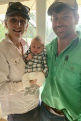 Ellie and Andrew Cosgrove, from rural NSW, with Bobby.