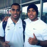 Josh, left, and Samu Kerevi in Cape Town with the Fiji under 20s in 2012.