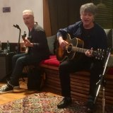 Nick Seymour and Neil Finn play along to the new Crowded House album in Finn's Auckland studio last month.