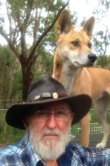 Sandy was rescued as a pup by Barry (pictured) and Lyn Eggleton in central Australia in 2014.
