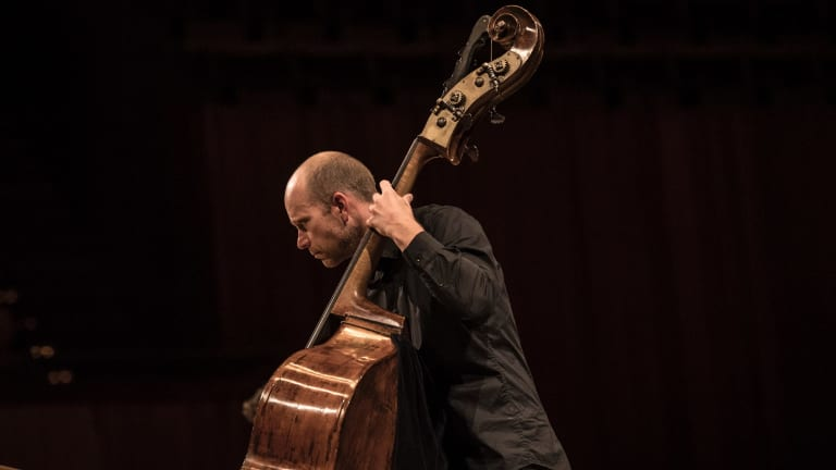 The ACO's double bassist Maxime Bibeau was the soloist in <I>Dark with Excessive Bright</I>.
